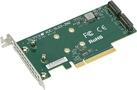 Supermicro PCIe Add-On Card for up to two NVMe SSDs AOC-SLG3-2M2