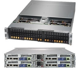 Supermicro SuperServer SYS-2029BT-HNC1R 2U BigTwin^2 DP 4x6SFF LSI 3108 RED PSU